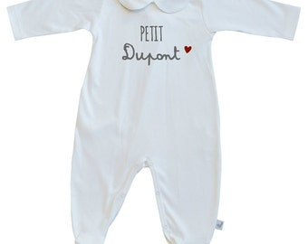 baby personalized peter pan collar pajama,  peter pan footed playsuit, toddler peter pan collar footie-French baby clothes-100% Pima Cotton-
