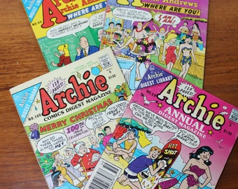 Set of 4 Archie Comics Digest  -- 1989, 90, 91 --Archie Comics Magazine Library-- Archie Number 60, 62, 100  / Annual 59