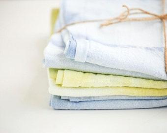 Blue & Yellow Shibori Style Tea Towel