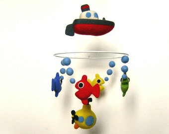 """Mobile made of needle felted wool: """"The sea"""""""