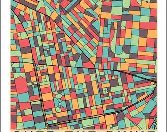OVER-the-RHINE Cincinnati Neighborhood Map Ohio  Giclee Fine Art Print Abstract Modern Wall Art Gift Home City Brewery