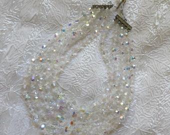 Elegant Vintage 5 Strand Aurora Borealis Austrian Crystal Necklace Formal or Fun