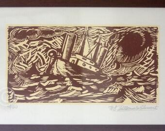"""Vintage Woodcut Print, Framed, Original Limited Edition, 41/60. Signed, Fernando Cilleruelo. """"Arribo de Los Mortales Hacia la Eternidad"""""""