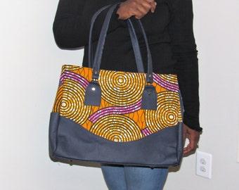 Multi Color Ankara and Faux Leather tote Bag (BAB10)