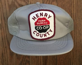 Vintage Henry County Farm Bureau Co-op Mesh Trucker Hat Snapback Baseball Cap Patch