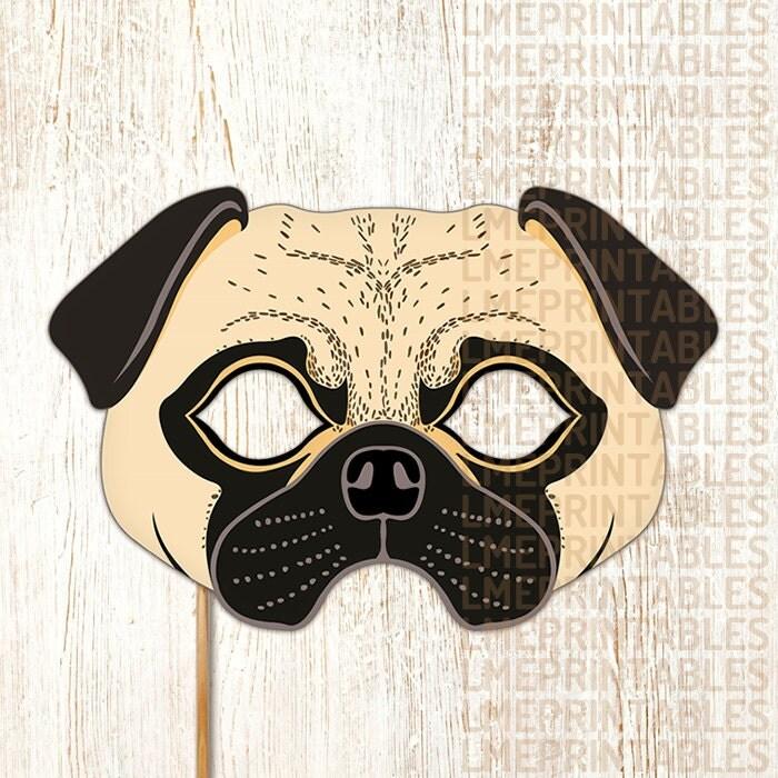 Pug Dog Mask Printable Fawn Carlin Mops Dutch Bulldog Mastiff