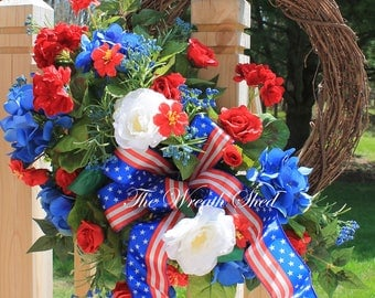 FREE SHIPPING, Cemetery Wreath, Patriotic Front Door Wreath, Memorial Day Wreath, 4th of July Wreath, Outdoor Wreath, Cemetery Decorations