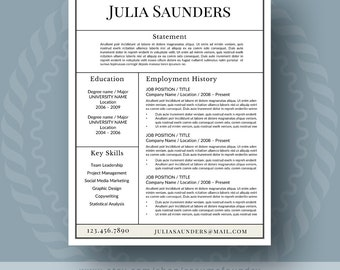 Classic Resume Template For Word, 1 3 Page Resume + Cover Letter + Reference  Reference Page For A Resume