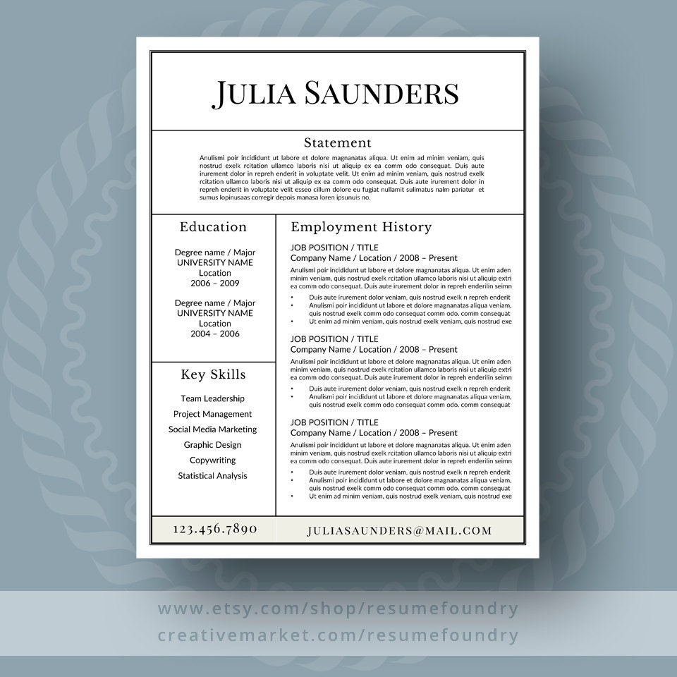 Resume Cover Letter Template: Classic Resume Template For Word 1-3 Page Resume Cover