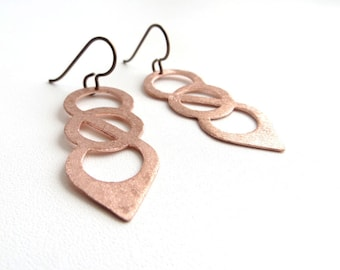 Copper Earrings Matted Modern Geometrical Earrings Dangle Celtic Peace Chain Inspired Earrings Handmade Metalwork Earrings Unique Design