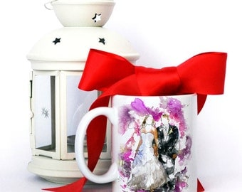 SPECIAL OFFER - Portrait and Mug - Custom illustration from your photo. Christmas pack. Custom watercolor painting. Family Portrait.