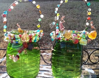 Glitzy Pair of Candle Lanterns