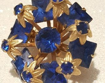 Vintage Royal Blue Rhinestone Pin Brooch Goldtone