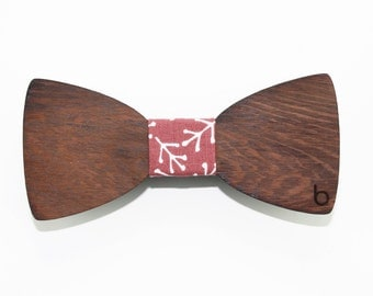 Wooden bow tie with AutumnLeaves fabric