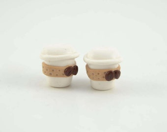 Coffe to go cup with coffe bean adorable stud earrings earrings, polymer clay earrings, coffee earrings