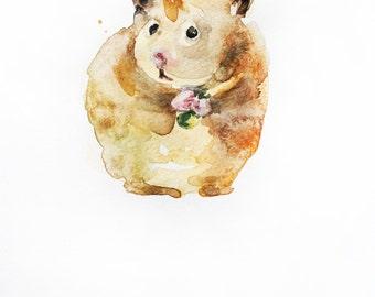 ORIGINAL Watercolor Painting, Hamster art, watercolor hamster, hamster with food, Watercolor Animal, small hamster, Decor for kids, Art OOAK