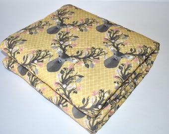 SHIPS TOMORROW! SALE - Golden Antlers Quilt, crib bedding, nursery decor, deer, fawn, gold slumbers, gender neutral, woodland