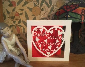 Papercut - Dydd Santes Dwynwen Hapus - Happy Saint Dwynwen's Day - Welsh Card - Hearts