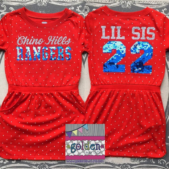 Little Sister, Lil Sis, Big Sister Personalized Sport Team youth dress, Baseball, Basketball, Football, Cheer, Jersey, Sequin, Little League