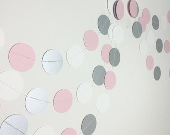 Party Decoration - Bridal Shower Decoration - Pink Garland - Ombre Garland - Pink Ombre Garland - Pink Silver Circle Garland - 10 Feet