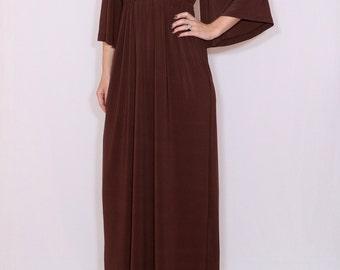 Chocolate Brown dress Kimono dress Women Maxi dress