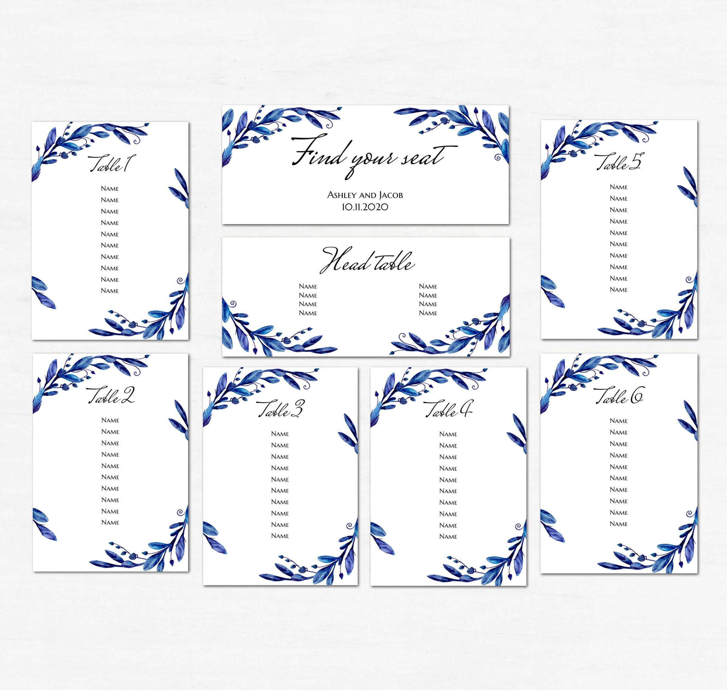 Blue seating chart template Winter wedding table plan printable Navy ...