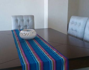 Mexican Rebozo fabric, Mexican Table Runner, Mexican Table cloth, Boho Aztec fabric, Wave colorful geometric design, Mexican Table linens