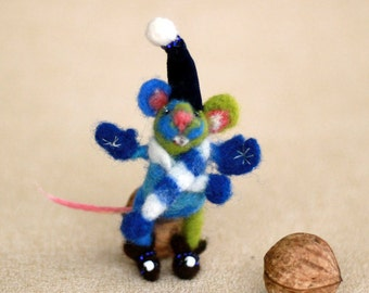 Miniature Needle Felt Animal Brooch, Felt Wool Mouse Doll With Gift Card, Cute Felt Children Gift 2.3 inch