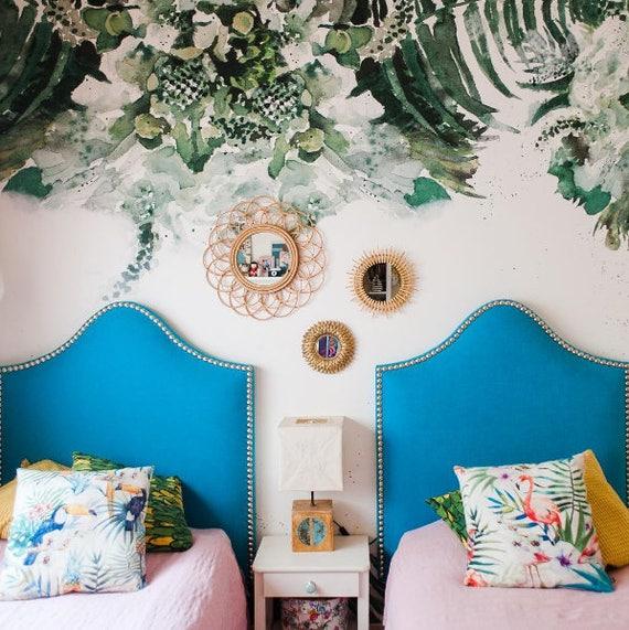 Papel pintado verde tropical de la hoja desprendible, hojas, selva, mural floral de la pared de la acuarela, auto-adhesivo #10