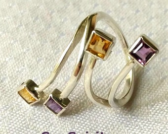 Silver Ring with Citrine and Amethyst