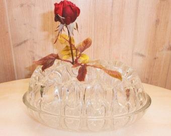 Vintage French Art Déco Grand Pique Fleurs en Verre Moulé//Molded Glass/Center Table/Porte Stylos/Pen rest Made In France/Prick frog flowers