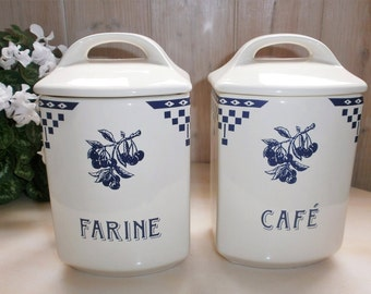 French Vintage white and blue Spice jar style Lustucru earthenware / / Spice Canister / / earthenware / / white and blue / / cherries