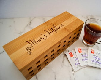 Personalized Tea Box, custom engraving Tea Box, Mothers day Gift, Bamboo Tea Box, Gift for Mom