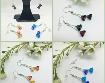 Flower earrings for pierced ears, available in three colours