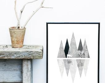 Abstract Landscape Print, Geometric Art, Printable Art, Deer Print, Scandinavian Art, Nordic Design,  Wall Art, Instant Download