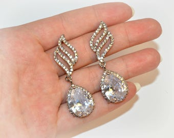 Bridal teardrop Swarovski earrings crystal wedding jewelry diamante jewellery Bridesmaid earrings gift for her