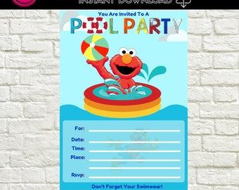 Elmo Pool Party Invitation Blank-Instant Download Template, Elmo Blank  Invitations, DIY Elmo Invites, Elmo Fill-in Invitations