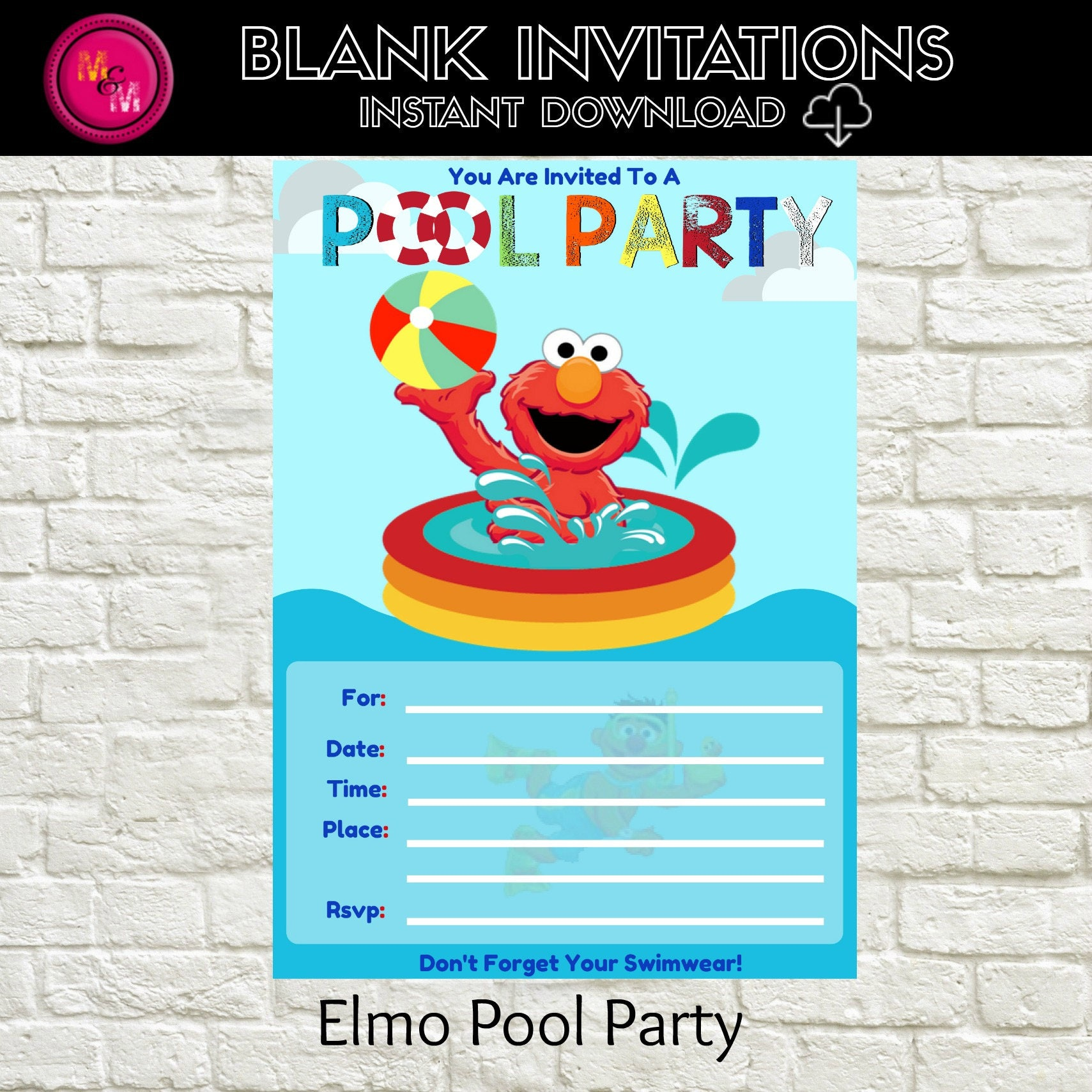 Elmo Pool Party Invitation BlankInstant Download Template – Blank Pool Party Invitations