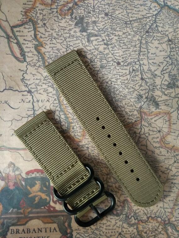 Nato/zulu strap 2-piece, Free Shipping Worldwide! 22mm & 24mm / Khaki