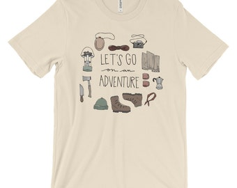 Let's Go On An Adventure Illustrated Camping Hand Lettering Graphic Tee