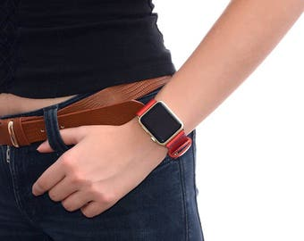 Genuine leather apple watch band 38mm / 42mm // apple watch strap accessories - lugs adapter - iwatch band gold - iwatch strap