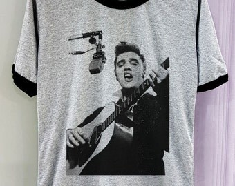 Elvis Presley Shirt Movie with Mic Hot Short Sleeve Two Tone Tee Gray Grey White Clothing