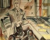 Kira Yoshikage Original Painting Jojo's Bizarre Adventure Art Villain Killer Queen JJBA Stands David Bowie Jojo Man in Suit Monster Villains