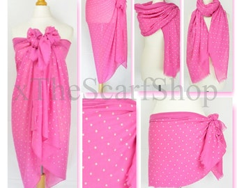 Hot Pink Polka Dot Print Sarong,Mini Dots,Spotty,Pareo,Beach Cover Up,Resort Wear,Pool Wrap,Holiday Wear,Vacation,Cruise Wear,Beach Dress