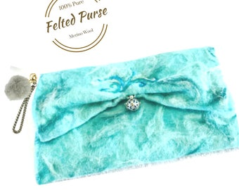 Felted Wool Clutch Purse, Aqua Designer Bag. Needle Felted Purses.
