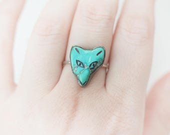 SALE! Turquoise Fox Ring, Sterling Silver and natural turquoise, fox, wolf, 925, face, patina, pastel blue, green - baby blue, carved, raw
