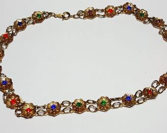 Vintage Rainbow Colours Rhinestone and Flower Necklace/ Choker/ Vintage Rhinestone Necklace/Vintage Flower Linked Choker Necklace/