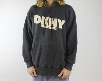 Vintage 90s DKNY Black Hooded Sweatshirt - Donna Karen New York Hoodie - DKNY Jeans Sweatshirt - Large