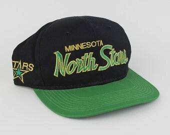 Vintage 90s Minnesota North Stars NFL Hockey Snap Back Hat - Green Black North Stars Hockey Hat