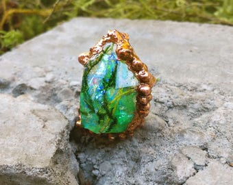 Mermaid Lagoon Turquoise Electroformed Quartz Resin Ring